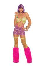 Neon Nites Clubwear Dancer Ripped Net Mini Dress by Elegant Moments