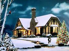 "LED Wandbild Leuchtbild ""Landhaus"" Bild Leinwandbild Beleuchtung 40x30 cm WF-03"