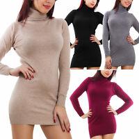 Maglione donna mini abito vestito tricot collo alto dolcevita aderente 100121