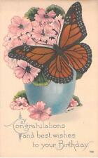 Congratulations Best Wishes Birthday, Butterfly Illustrated Art Vintage Postcard