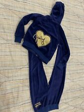 Juicy Couture Girls Navy  Velour Track Suit Size 6