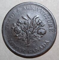 Canadian 1 Sous Montreal Bank Token 1837 Lower Canada Trade Agriculture One