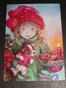 Postkarte Lisi Martin Hund und Mädchen