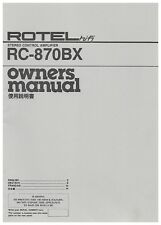 ROTEL RC-870BX Owners MANUAL Instructions STEREO Control AMPLIFIER