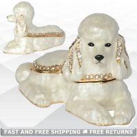 Poodle Dog Pewter Trinket Box Hinged Lid Enamel Bejeweled Crystal Decor Ornament