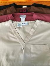 4 men v-neck 1 pocket medical dental vet scrubs uniform top shirts S black brown