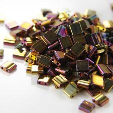 10 Grams Miyuki Tila Beads-Gold Opaque Iris Metallic (TL462)