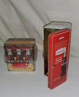 COKE BOTTLE Coca-Cola Tin LOCKER METAL Handle Tin Sealed Lid Soda Pop LOT