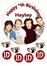 """One Direction 1D Iced / Icing / Frosting Edible Cake Topper 7.5"""" + Cupcake Tops"""
