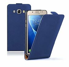 SLIM BLUE Leather Flip Case Cover Pouch For Samsung Galaxy J5 2016 (+2 FILMS)