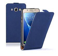 Slim Azul Bolsa De Funda para Estuche Abatible de Cuero para Samsung Galaxy J5 2016 (+2 películas)