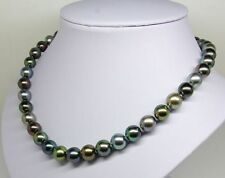"20""8-9mm perfect tahitian genuine black pearl necklace round"