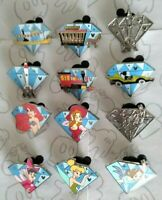 2015 Hidden Mickey Diamond Characters Attractions Set DLR Choose a Disney Pin