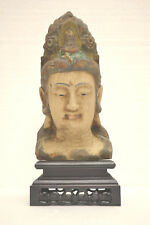 Asian Chinese wooden Buddha head w/Stand