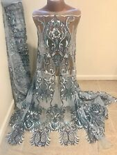 Light Blue Stretch Mesh W/Embroidery Sequins Fabric (50in) Sold By The Yard