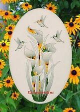 Lily Hummingbirds Window Decal OVAL 26x41 Static Cling Floral Decor for Glass