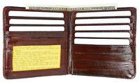 Burgundy Eel Skin Leather Bifold Wallet Slim Hipster Cowhide Credit Card and ID
