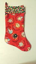 Handmade Fabric Mary Engelbreit Cup Of Kindness Christmas Stocking