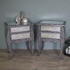 COPPIA in rilievo argento specchiato lampada da comodino tavolo mobili per camera da letto set storage