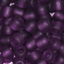 Perles de Rocailles en verre Transparent Givré 4mm Amèthyste foncé 20g (6/0)