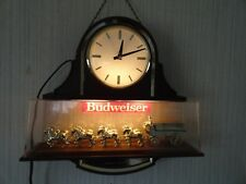 Vintage Budweiser Clydesdale Double-Sided Hanging Light Beer Clock (Works Great)