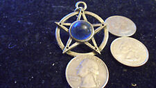 bling pewter 5 POINT STAR circle glass pendant charm rope chain hip hop necklace