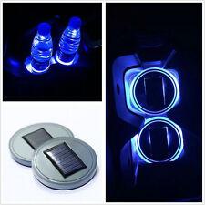2pcs Blue Solar Cup Holder Bottom Pad Mat LED Light Trim For All Cars All models
