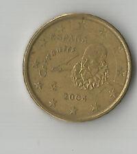 España/espagna; 2004 moneda de 10 centavos de euro; Miguel de Cervantes buena CIRCULADO * B