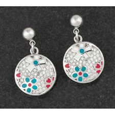 Equilibrium 284252 - HAND PAINTED PLATINUM PLATED EARRINGS - Flower Pave CZ