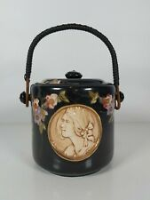 More details for a bretby art pottery biscuit barrel with a relief panel of lady's head 15cm tall