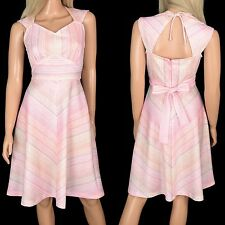 Vtg 70s Retro DRESS Pink Chevron Stripes A-Line Fit Flare Keyhole Cutout Back -S