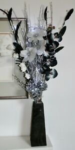 Silver Black orchid display FREE Black vase 20 set LED lights xmas weddings