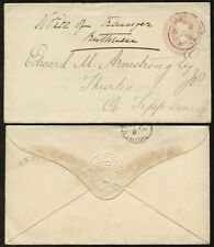 GB QV 1894 STATIONERY to IRELAND TIPPERARY THURLES CDS..RAILWAY EMBOSSED FLAP