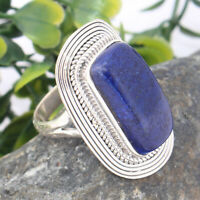 Lapis Lazuli Solid Sterling Silver Ring Traditional Jewelry - Size 12