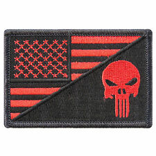 Red US Flag Skull Motorcycle Biker Sniper Army Navy Punisher Iron on Patch #P038