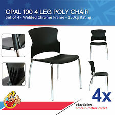 4x Opal 100 Visitor 4 Leg Metal Frame, Stackable Office Chair Adam Focus Chairs
