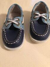 Janie & Jack Baby Boys' Blue Leather Boat Shoes - Size 4 Toddler NEW without box