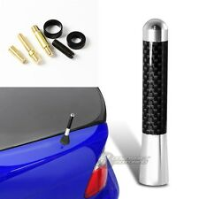 "3"" Silver Carbon Fiber Overlay Car Aerial Radio Antenna +Screws For Volkswagen"