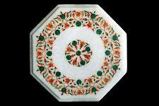 "12"" Semi Precious Stones Inlay Floral Home decor Marble Table Top"
