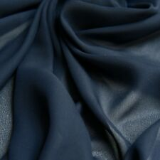 Dark Blue Navy Georgette Sheer Transparent Plain Woven Dress Fabric - Per metre
