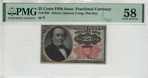 25 CENT FIFTH ISSUE POSTAL FRACTIONAL CURRENCY FR.1308 PMG CHOICE AU 58