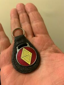 RENAULT VINTAGE AUTO LEATHER KEYCHAIN KEY CHAIN RING, MADE IN ENGLAND