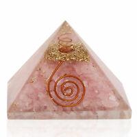 Orgone Pyramid  X-Large 70-75 MM Rose Quartz Gemstone Pyramid  Orgonite Stone