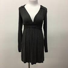 Max Studio Petite stretch knit womens dress gray deep V unlined Size SP