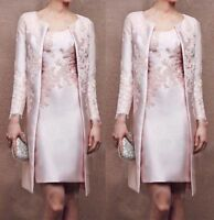 Pink Applique Mother Of The Bride Dress Formal Outfit Mum Coat Free Long Jacket