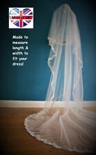 Cathedral Length 2 Tier Drop Veil*off White/Ivory*Wide corded Lace C*Bespoke *