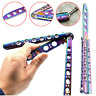 Butterfly Rainbow Balisong Steel Practice Toy Knife Trainer Training Tool AU