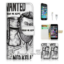 iPhone 6 / 6S (4.7') Flip Wallet Case Cover! P0394 Ned Kelly Wanted