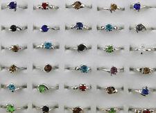 lot de 10 bagues argenté fine petite pierre résine couleur divers (20)