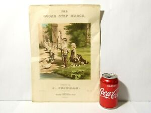 19thC Goose Step March J. PRIDHAM Sheet Music Pictorial Front Page ONLY